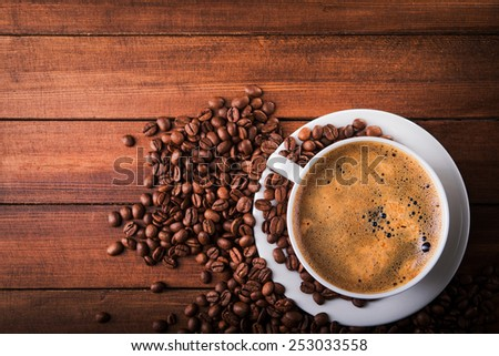 Coffee cup with bean. Top view. - stock photo