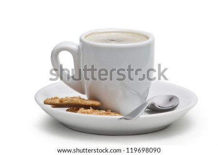 Coffee cup with biscuits - stock photo