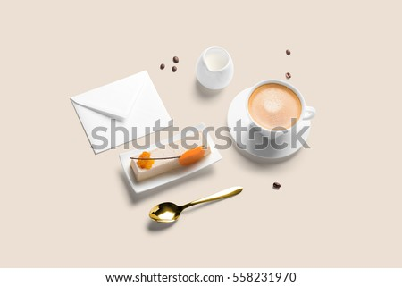 coffee cup cake breakfast set including stock photo royalty free
