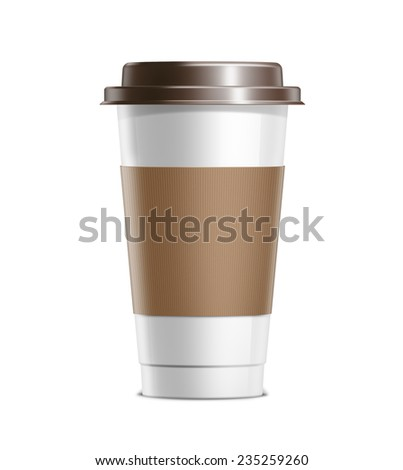 Coffee cup with cardboard cover and plastic lid isolated on white background - stock photo