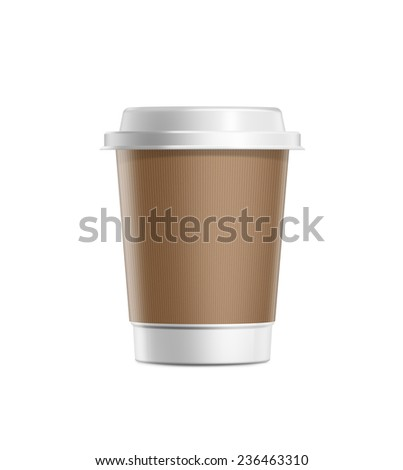 Coffee cup with cardboard cover and white plastic lid isolated on white background - stock photo