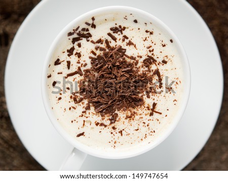 Coffee cup with chocolate top view - stock photo
