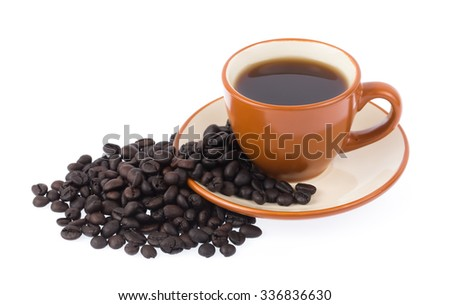 coffee cup with coffee beans isolated on white background - stock photo