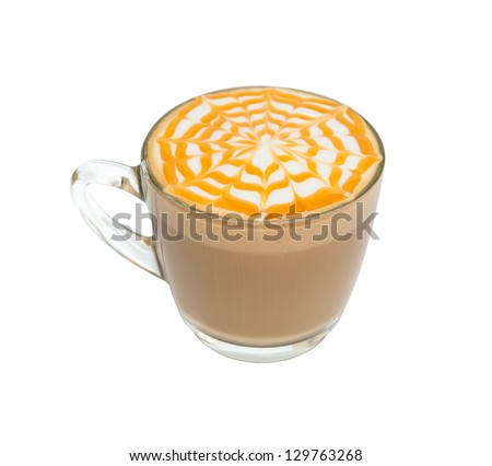 Coffee cup with cream and caramel pattern on white - stock photo