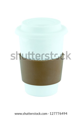 Coffee cup with cup holder isolated with clipping path - stock photo