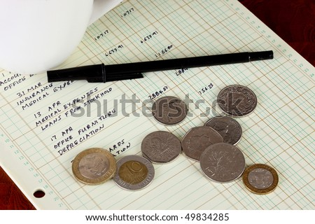 Coffee cup with general ledger sheet showing journal entries with coins from various countries and black ballpoint pen on polished wooden table top - stock photo