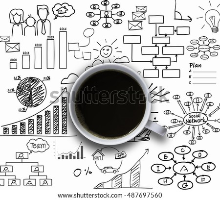 coffee cup with graph and diagram, successful business