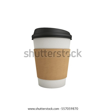Coffee Cup with Hilder Isolated on White Background 3D Render, 3D Illustration