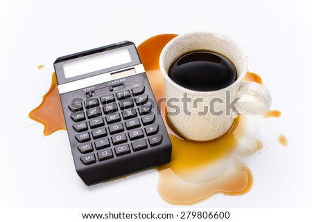 Coffee cup with messy desk - stock photo