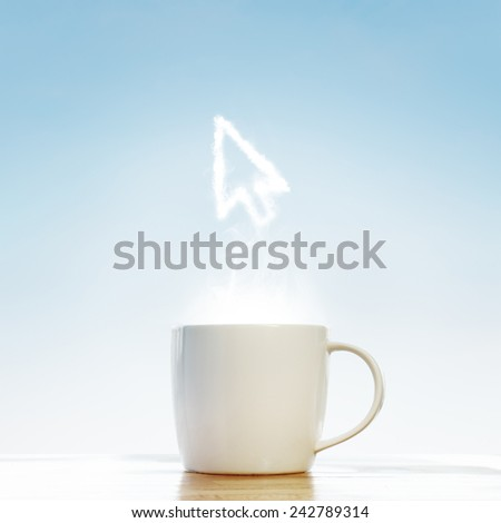Coffee cup with Mouse arrow cursor symbol - stock photo