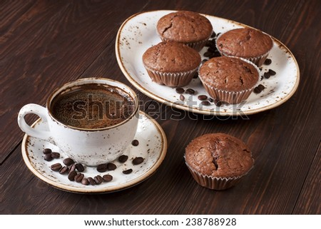 Coffee cup with muffin