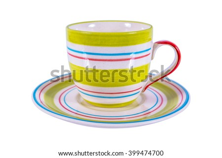 Coffee cup with saucer pattern isolated on white background - stock photo
