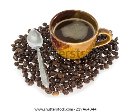 coffee cup with silver spoon on white background - stock photo