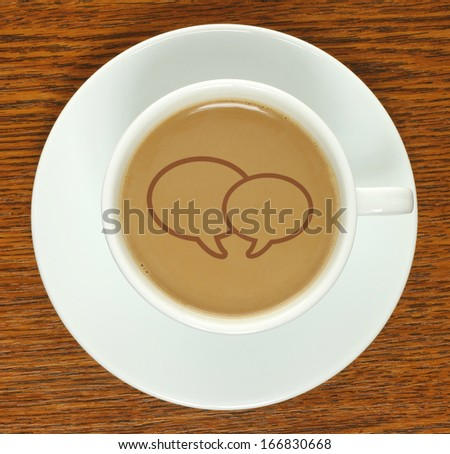 Coffee cup with social media bubbles on a wooden background   - stock photo
