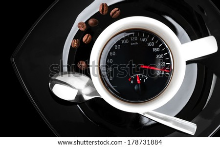 Coffee cup with speedometer, metaphor of people acceleration  - stock photo