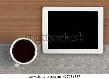 Coffee cup with tablet on gray fabric and wood table, 3D rendering