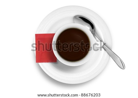 Coffee cup without smoke and red sugar bag - stock photo