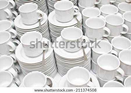 Coffee cups background. - stock photo