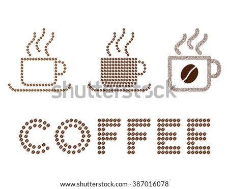 Coffee cups glyph collage composed from coffee beans. Flat brown seeds on a white background. - stock photo