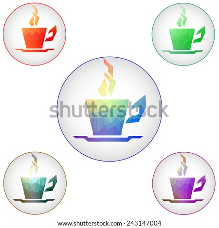 Coffee cups icons. Raster - stock photo