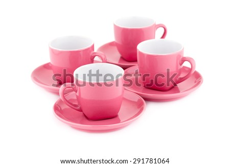 Coffee cups isolated on white background. - stock photo