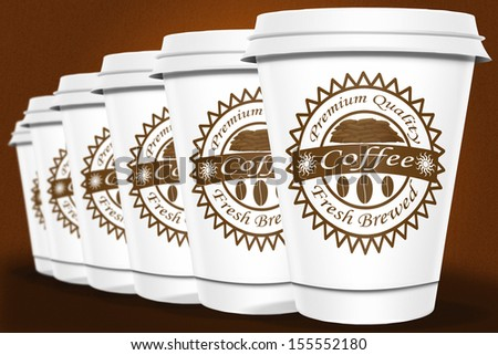 Coffee Cups standing in a line - stock photo