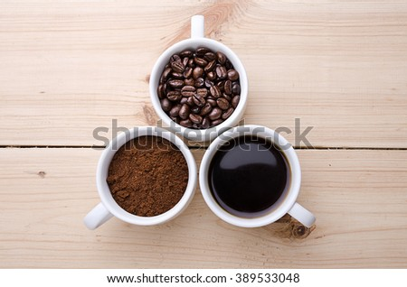 Coffee. Cups with coffee. Coffee beans . Concept - stock photo