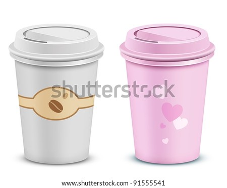 Coffee cups with lid and heart shapes. Valentine's pink coffee cup.