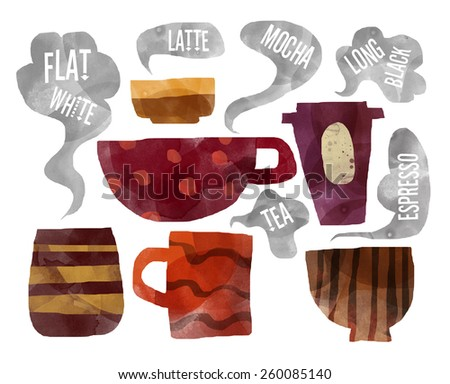 Coffee cups with steam, watercolor illustration - stock photo