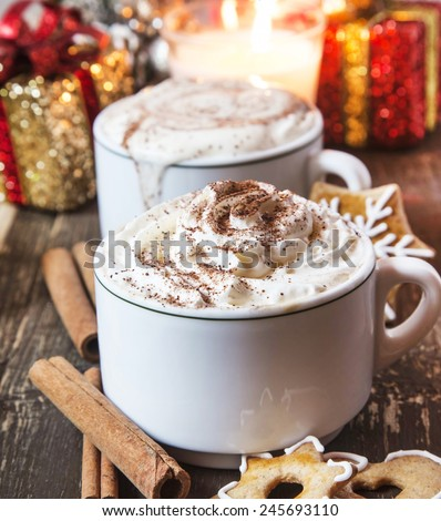 Coffee Cups with Whipped Cream, Cocoa Powder and Cinnamon with Gingerbread