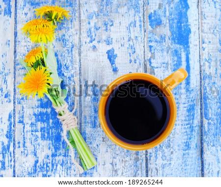 coffee dandelion gentle mug spring flowers - stock photo