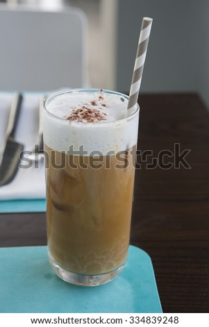Coffee, delicious ice cream on the table. - stock photo