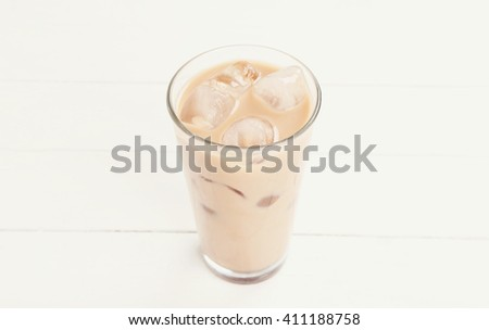 Coffee, drink. Ice latte on the table - stock photo