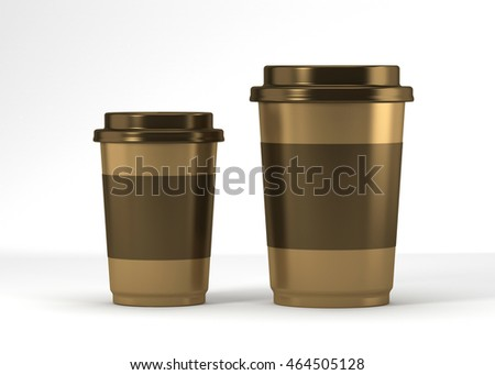 Coffee drinking cup sizes gold scheme-2 3d rendering