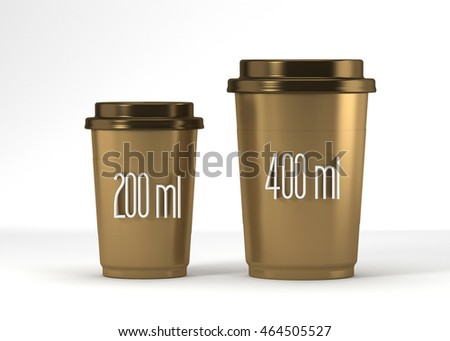Coffee drinking cup sizes gold scheme with 200 and 400 milliliter. 3d rendering