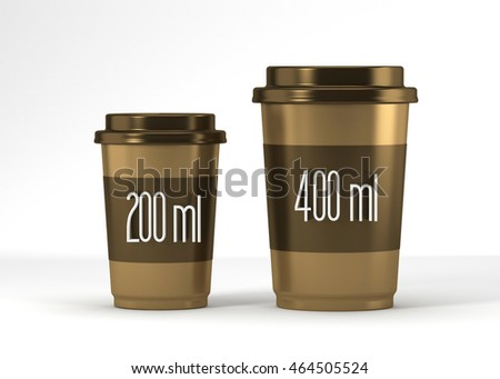 Coffee drinking cup sizes white gold scheme with 200 and 400 milliliter.  3d rendering