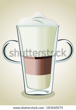 Coffee drinks with cream in glass - stock photo