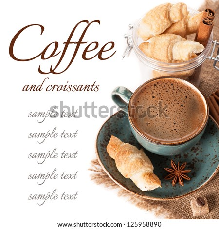 Coffee espresso and croissants. Delicious breakfast. - stock photo