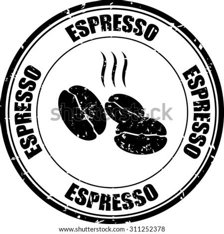 Coffee espresso brown grunge rubber stamp.  - stock photo