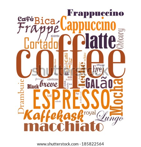 Coffee, espresso, cappuccino, macchiato, Word cloud, tag cloud text business concept. Word collage - stock photo