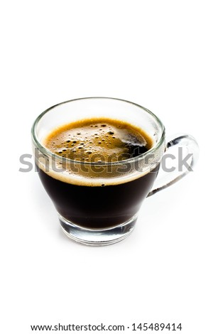 Coffee Espresso in  Glass small cup with foam white background - stock photo