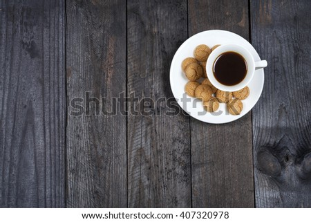 Coffee espresso on background stylish background with amaretti biscuits - stock photo