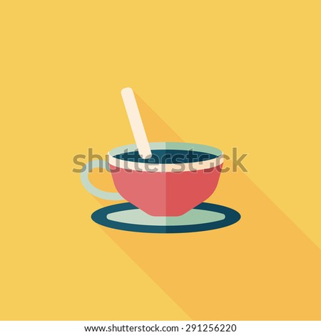 coffee flat icon with long shadow - stock photo