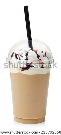 Coffee frappe covered with whipped cream in plastic glass isolated on white background