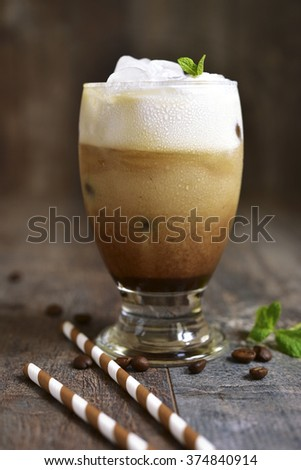 Coffee frappe - traditional drink of greek cuisine. - stock photo