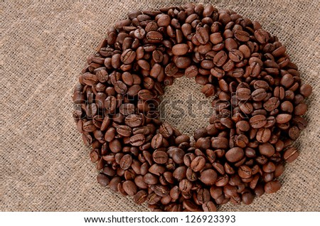 Coffee grain on canvas background