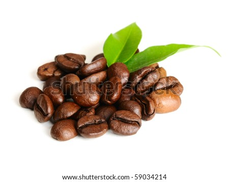coffee grains and leaves - stock photo