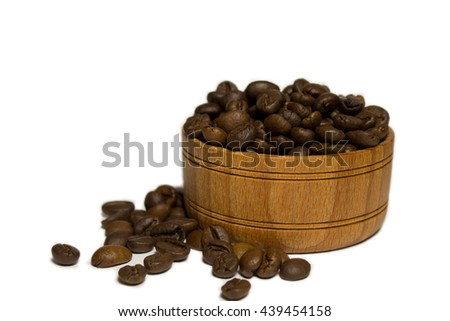 coffee grains in a wooden basket - stock photo