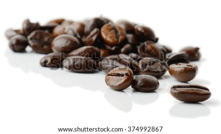 coffee grains isolated on white