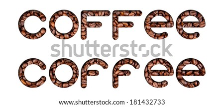 Coffee grains. Text filled texture with shadow on white background.